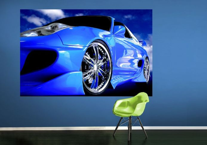 Speedster blue car wall murals | Homewallmurals.co.uk
